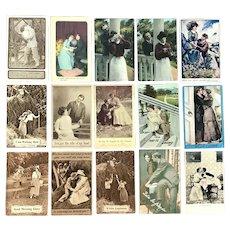 Lot of 15 Vintage Romantic Couples Postcards ~ Romantic to Playful Scenes