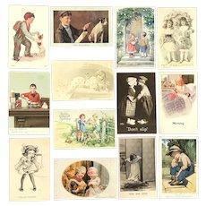 Lot of 13 Vintage Cute Children Postcards ~ Heartwarming Scenes