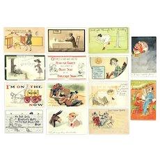 Lot of 14 Vintage Comic Postcards ~ Unique Messages