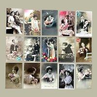 Lot of 15 Vintage REAL PHOTO Postcards ~ Romantic Couples, Children, Flowers