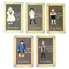 1902 TUCK Valentine's Postcards Children with Cute Sayings  Set of 5