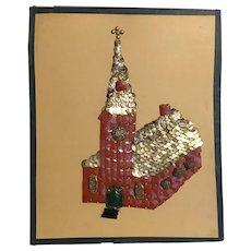 """""""The Church"""" 77 year old Folk Art Piece of Buttons and Sequins"""