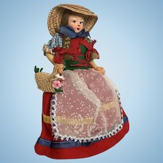 FIRENZE Italy Souvenir Vintage Hand Painted Doll with Basket of Flowers