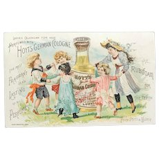 c. 1892 Calendar HOYT'S German Cologne Rubifoam for Teeth  Trade Card with Children