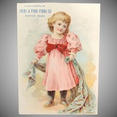 c. 1890's Ivers & Pond Piano Co. Tradecard – Cute Little Blond Girl
