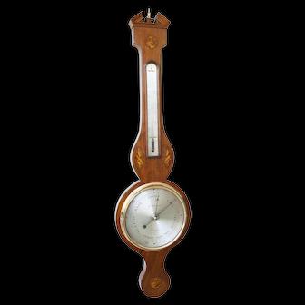 Antique English Sheraton Shell Banjo Wheel Barometer