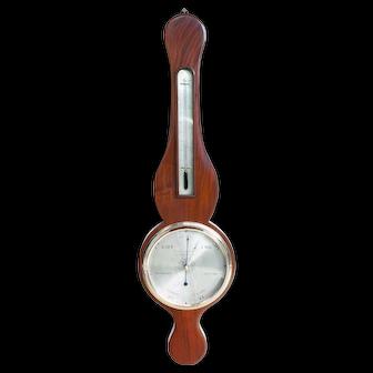 Antique Early English Round Top Banjo Wheel Barometer