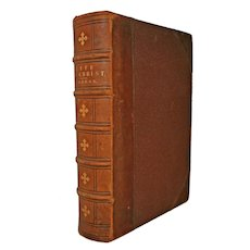 Half Leather Bound Antique Book The Life of Christ by Frederick W Farrah circa 1874