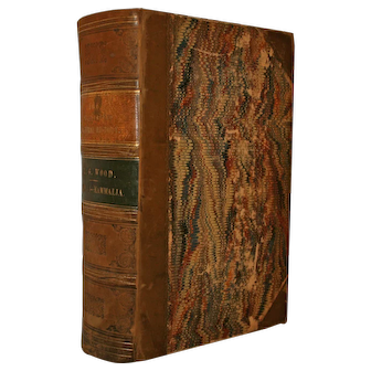 Half Leather Bound Antique Book  circa 1859 The Illustrated Natural History  Vol. 1 - Mammalia by J. G. Wood