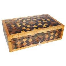Antique Continental Parquetry Campaign Writing Slope 19th Century