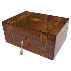 Victorian Tunbridge Ware Inlaid Walnut Jewelry Box c1870
