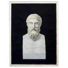Ancient Italian Etching of Epicurus