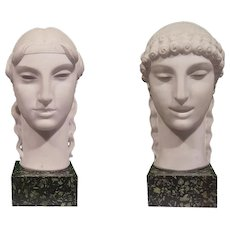 Couple of Kore Heads in Statuary Marble by Nicola D'Antino