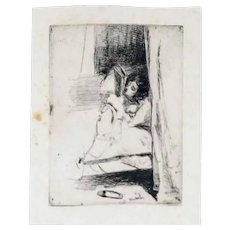 Original Ancient Etching of a Reading Woman