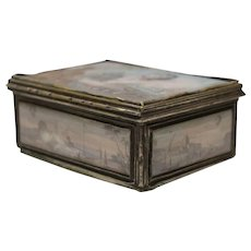 Ancient Small Box with Decorative Scenes of the Reveillon Aerostat, Louis XVI France