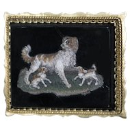 Ancient Small Pietra Dura Plate with Dogs and Puppies