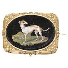 Ancient Pietra Dura Plaque with Greyhound