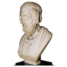 Small Alabaster Sculpture of Homer, by Italian Sculptor Early 19th Century