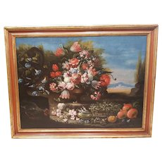 Still Life with Flowers, 18th Century Oil Painting Attributed to Francesco Lavagna