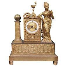 Table Clock in Golden Bronze French Style, French 1st Empire Age (1800-1810)