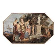Fresco of Allegoric Scene with Vestal Virgins and Satyr, Roman School 19th Century