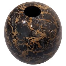 Black Marble Vase, Chinese Manufacture, 21st Century