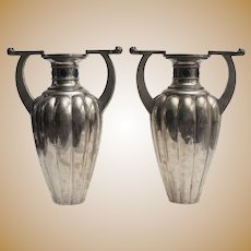 Pair of Two-Handles Silver 800 Vases by Bellotto