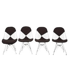 """4 Vintage Chairs Model DKR/2 """"Wire"""", by Charles & Ray Eames"""