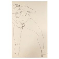 Stehende Frau Masturbierend - Original Lithograph after Egon Schiele - 1990