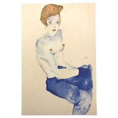 Seated Girl with Bare Torso - Original Limited Edition Lithograph After a Drawing Egon Schiele