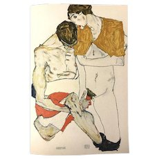 Lovers - Original Color Lithograph After a Drawing by Egon Schiele
