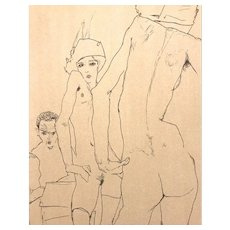 Schiele Drawing a Nude Model in front of a Mirror