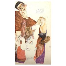 The Red Host - Original Lithograph After Egon Schiele
