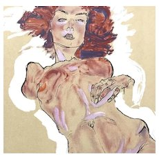 Female Nude, Original Lithograph after a Drawing by Egon Schiele