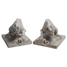 Pair of Marble Lions, French School, Late 19th Century