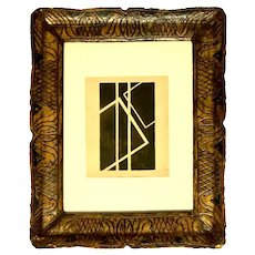 Black Geometrical Composition - Original painting  in gouache of black China ink on creamy wide paper by Frantisek Kupka