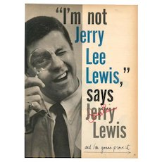 Vintage Jerry Lewis Poster with Autographed Signature