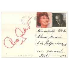 Vintage Postcard Hand Signed by Ava Gardner