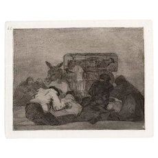 Extraña devoción! - Original Etching by Francisco Goya - 1863