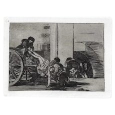 Carretadas al Cementerio - Original Etching by Francisco Goya - 1863