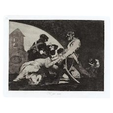Ni por Esas - Original Etching by Francisco Goya - 1863