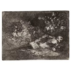 Nada. Ello dirá - Original Etching by Francisco Goya - 1863