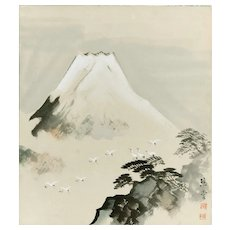 View of Mount Fuji - Original Mixed Media by Keidou Ishimura - Mid 20th Century