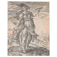Jale with the Sisera's Head - Original Etching by M. Greuter 1586