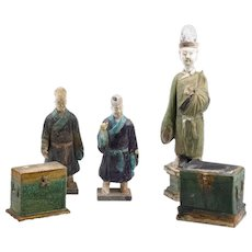Five Ancient Glazed Statuettes, Ming Dinasty China