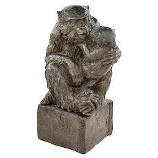 Monkeys, Ancient Bronze Sculpture by Unknown Artist, Japan, 19th Century