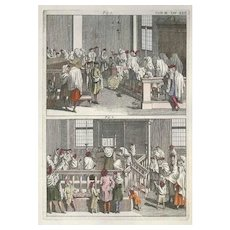 Recitation of the Torah in the Synagogue - Original Etching by G. Pivati - 1746-1751