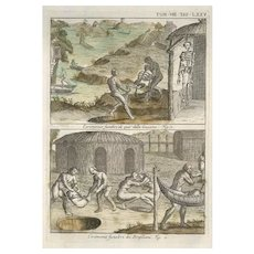Funeral Ceremonies of American natives of Guiana and Brasil - Original Etching by G. Pivati 1746-1751