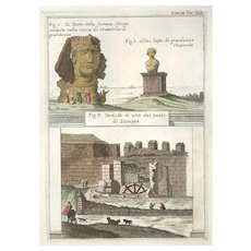 Landscape with Egyptian Sphinx - Original Etching by G. Pivati - 1746-1751