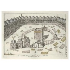 Mecca Temple or the Ka'ba of Muhammadans - Original Etching by G. Pivati - 1746-1751